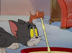 Screenshots from the 1947 MGM cartoon Dr. Jekyll and Mr. Mouse