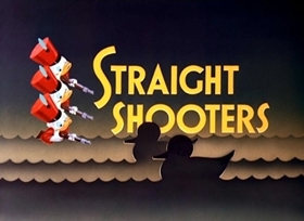 Screenshots from the 1947 Disney cartoon Straight Shooters