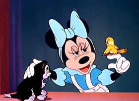 Screenshots from the 1947 Disney cartoon Figaro and Frankie