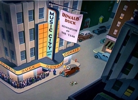 Screenshots from the 1947 Disney cartoon Donald