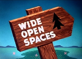 Screenshots from the 1947 Disney cartoon Wide Open Spaces