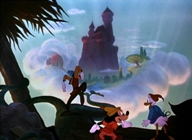 Screenshots from the 1947 Disney cartoon Mickey and the Beanstalk
