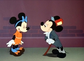 Screenshots from the 1947 Disney cartoon Mickey