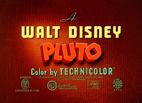 Screenshots from the 1947 Disney cartoon Pluto