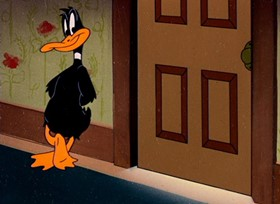 Screenshots from the 1947 Warner Brothers cartoon Birth of a Notion