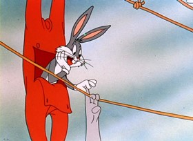 Screenshots from the 1947 Warner Brothers cartoon A Hare Grows in Manhattan