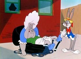 Screenshots from the 1947 Warner Bros. cartoon A Hare Grows in Manhattan