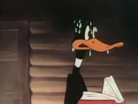 Screenshots from the 1947 Warner Brothers cartoon Along Came Daffy