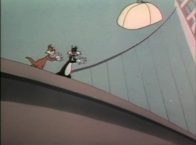 Screenshots from the 1947 Warner Bros. cartoon Doggone Cats