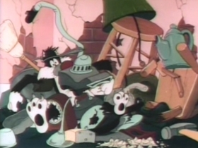 Screenshots from the 1947 Warner Brothers cartoon Catch as Cats Can