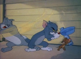 Screenshots from the 1948 MGM cartoon The Truce Hurts
