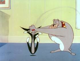 Screenshots from the 1948 MGM cartoon The Cat That Hated People