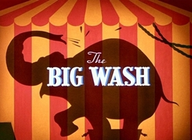 Screenshots from the 1948 Disney cartoon The Big Wash