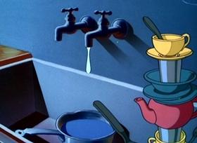 Screenshots from the 1948 Disney cartoon Drip Dippy Donald