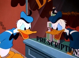 Screenshots from the 1948 Disney cartoon Donald