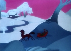 Screenshots from the 1948 Disney cartoon Once Upon a Wintertime