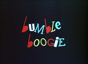 Screenshots from the 1948 Disney cartoon Bumble Boogie