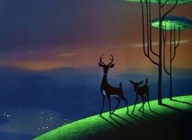 Screenshots from the 1948 Disney cartoon Trees