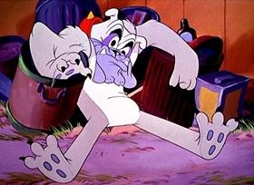 Screenshots from the 1948 Disney cartoon Pluto