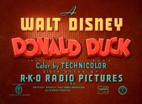 Screenshots from the 1948 Disney cartoon The Trial of Donald Duck