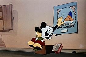 Screenshots from the 1948 Walter Lantz cartoon Banquet Busters