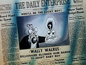 Screenshots from the 1948 Walter Lantz cartoon Wacky-Bye Baby