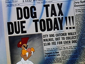 Screenshots from the 1948 Walter Lantz cartoon Dog Tax Dodgers