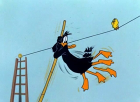 Screenshots from the 1948 Warner Brothers cartoon The Up-Standing Sitter