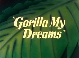 Screenshots from the 1948 Warner Brothers cartoon Gorilla My Dreams