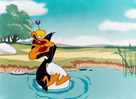 Screenshots from the 1948 Warner Bros. cartoon What Makes Daffy Duck