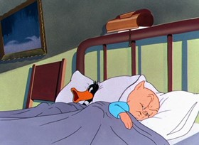 Screenshots from the 1948 Warner Brothers cartoon Daffy Duck Slept Here