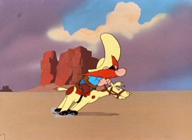 Screenshots from the 1948 Warner Brothers cartoon Bugs Bunny Rides Again