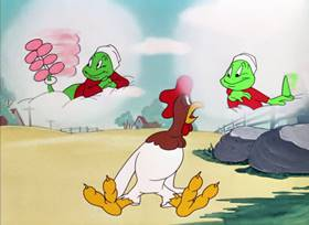 Screenshots from the 1948 Warner Bros. cartoon The Rattled Rooster