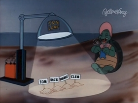 Screenshots from the 1948 Warner Brothers cartoon The Shell Shocked Egg