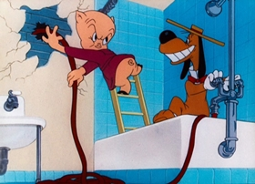 Screenshots from the 1948 Warner Brothers cartoon The Pest That Came to Dinner