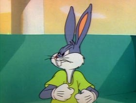 Screenshots from the 1948 Warner Brothers cartoon Hare Splitter