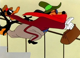 Screenshots from the 1948 Warner Brothers cartoon Daffy Dilly