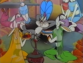 Screenshots from the 1948 Warner Brothers cartoon A-Lad-In His Lamp