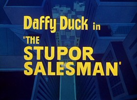 Screenshots from the 1948 Warner Brothers cartoon The Stupor Salesman