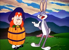 Screenshots from the 1948 Warner Brothers cartoon My Bunny Lies Over the Sea