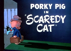 Screenshots from the 1948 Warner Brothers cartoon Scaredy Cat