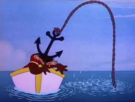 Screenshots from the 1949 MGM cartoon Goggle Fishing Bear