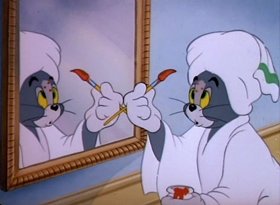Screenshots from the 1949 MGM cartoon Polka Dot Puss