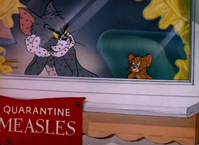 Screenshots from the 1949 MGM cartoon Polka Dot Puss