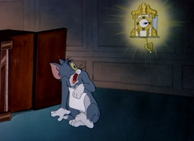 Screenshots from the 1949 MGM cartoon Heavenly Puss
