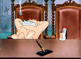Screenshots from the 1949 MGM cartoon Wags to Riches