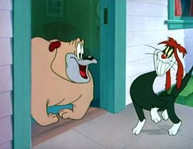 Screenshots from the 1949 MGM cartoon The Counterfeit Cat