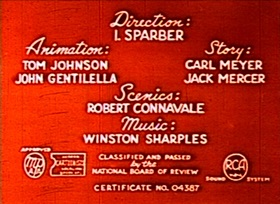 Screenshots from the 1949 Paramount / Famous Studios cartoon Little Red School Mouse