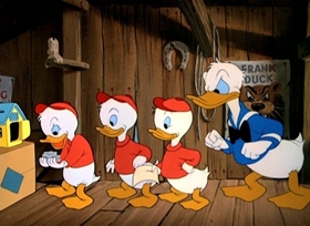 Screenshots from the 1949 Disney cartoon Donald