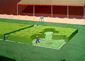 Screenshots from the 1949 Disney cartoon Tennis Racquet